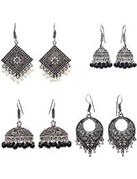 Geode Delight Oxidized Silver Plated Jhumki Earring For Women & Girls Set Of 4