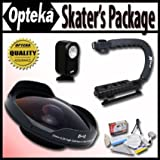 Opteka Deluxe Skaters Package (Includes The OPT-SC37FE Platinum Series 0.3X HD Ultra Fisheye Lens X-GRIP Camcorder... - B00652LGBE