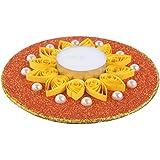 Ishu's Creation Wax, Quelling Paper & Pearls Decorative Tealight Candle (13 Cm X 13 Cm 2 Cm, Multi, Ish11_1,)