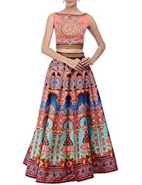 Aryan Fashion Designer Light Orange Bhagalpuri Print Embroidery Work Semi-Stitched Lehenga Choli