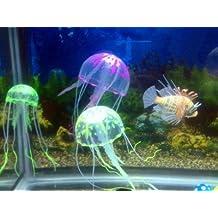 Aquarium Decoration Silicon Jellyfish Toy | Glowing Effect | Green Color | Diameter 4.5 Cm