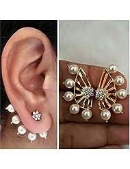 JDX Latest Bollywood Designer 18K AD Star Earcuff Earrings 2 Pc Gift Set For Women