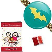 "Colourful ""Batman"" Rakhi With Roli, Chawal & Greeting Card (Kids Rakhi, Cartoon Rakhi, Toy Rakhi, Wristband, Bracelet..."