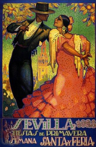 Sevilla 1928 Spring FlamencoTourism 10 X 16 Vintage Poster Reproduction