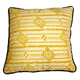 Homeblendz Polyester Flocking Floral Design Yellow/off White 40x40 Cushion Cover