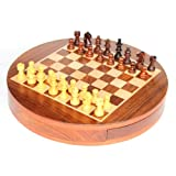 9'' Round Collectible Wooden Drawer Chess Game Board Set+Wooden Magnetic Crafted Pieces (Delivery < 7 Days)