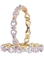 Joyeria Zircon Bollywood Designer American Diamond Partywear White Bangle Set For Women / Gift Jewelry