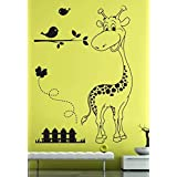 Hoopoe Decor Baby Giraffe Wall Stickers And Wall Decals, Best Wall Arts For Home Decoration - Black