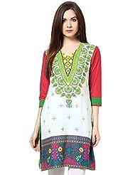 Indi Dori Women'S Cotton White Multi Printed Kurti