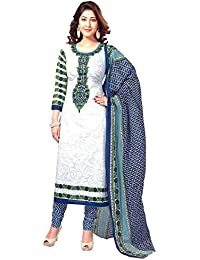 Shiroya Brothers Women's Printed Unstitched Regular Wear Dress Material (Shiroya_505_White)
