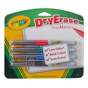Amazon.com: Crayola 4CT Dry Erase Markers Fine Line Bullet