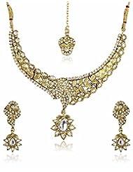 Shining Diva Kundan Stone Necklace Set With Mang Tika - B00N0UJXUU