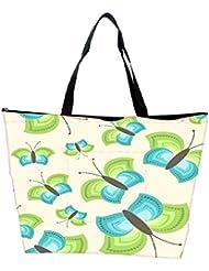 Snoogg Blue Green Butterfly Designer Waterproof Bag Made Of High Strength Nylon