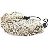 RANDOM BEIGE : Lace Flower Headband - Lace Hairband Black Flowers Head Wrap Women's Classic Hairband Hair Accessory...