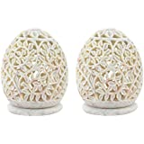 Cratly Pair Stone Made Candle Holder / Tea Light Holder / Candle Lamp Ball / Cup Candle Holder 4x3x3 Inch