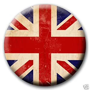 "Union Jack Distressed British Flag PINBACK BUTTON 1.25"" Pin / Badge Britain"