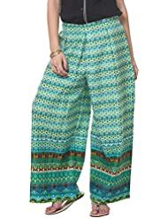 Vedanta Women's Loose Fit Cotton Palazzo (Green)