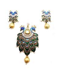 Beautiful Peacock Design Meenakari AD Stone & White Kundan Earring With Pendant Set Jewellery AD Jewellery