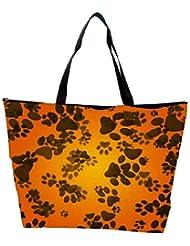 Snoogg Dog Paws Orange Background Waterproof Bag Made Of High Strength Nylon