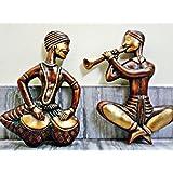 Tribal Musical Band Wall Sculpture - Brass Metal Wall Hanging - Antique Finish - BansalHandicrafts
