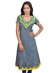 Amour Designer Cotton Turquoise Color Anarkali Kurta - 408-Turquoise-S