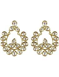 MUCHMORE White Kundan Earrings For Women & Girls Wedding Jewelry
