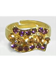 Purple And Brown Stone Studded Adjustable Ring - Stone And Metal - B00K4FVN4I