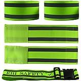 Premium Reflective Ankle Band & Belt Set (4 Bands + 1 Waist Belt). High Visibility Reflective Running Gear. Use...