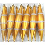 Queens Of Christmas WL-FIN-12PK-LN-GS 12 Pack Decorative Finial Ornament With Line Design, Gold/Silver