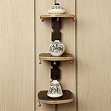ExclusiveLane Wooden Wall Shelves With Handpainted Terracotta Pots-Wall Shelf Wall Daccor Wall Corners Decorative...