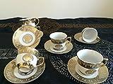 Medusa Service Mokka Espresso Tassen Geschirr Tafel Set Porzellan GOLD