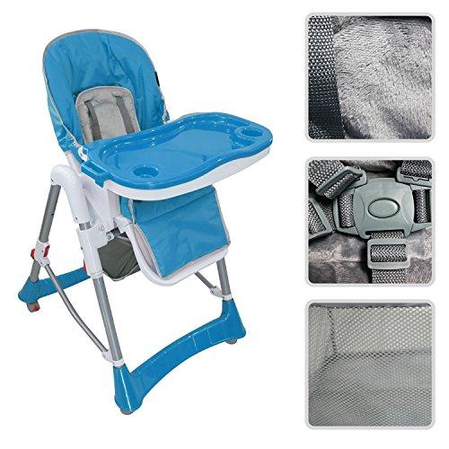 Chaise haute règlable pour bébé - Chaise bleue avec tablette pour enfants...