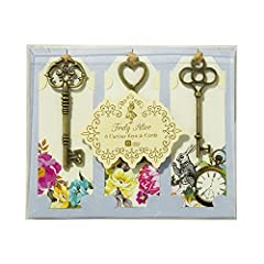 Talking Tables Truly Alice Curious Keys and Tags Place Setting Name Cards (6 Pack), Multicolor