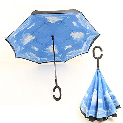 RAIN QUEEN Parapluie Canne Ouverture Inversé Double Toile Imprimé +C Poignée Grand Taille Dimension 110cm pour 2 personnes (Ciel)