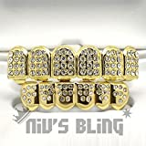 14 K Gold Plated Iced Out Cz Teeth Grillz Top Bottom(2 Gtb) Top&Bottom Combo Grill