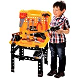 Sunshine Kids 73 Piece Toy Tool Kit Play Set Portable Folding Work Bench Workshop With Drill