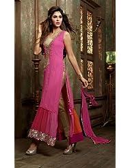 Stylish Fashion Gorgeous Pink Neck Embroidered Semi Stitched Pakistani Style Long Straight Suit