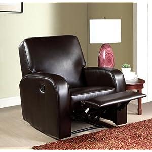 Abbyson Living Easton Dark Brown Bonded Leather Recliner
