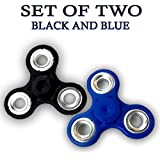 Fidget Spinner - Anti Anxiety Fidget Spinner Helps Focusing Fidget Toys [3D Figit] Premium Quality EDC Focus Toy For Kids & Adults - Best Stress Reducer Relieves Anxiety And Boredom Ceramic Cube Bearing - BLACK & BLUE By ART N SOUL