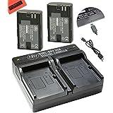 BM Premium 2-Pack Of LP-E6 LP-E6N Batteries And Dual Battery Charger Kit For Canon XC10 EOS 60D EOS 60Da EOS 70D...