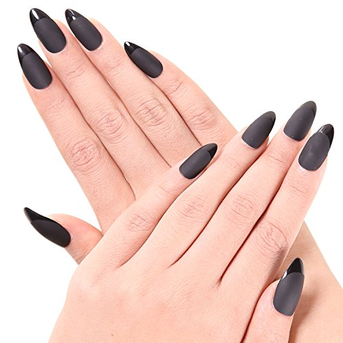Great Group Halloween Costumes: The Addams Family - Ejiubas 24 Pcs Black Color Matte with Glossy Finish Full Cover Talone Medium False Nail Tips
