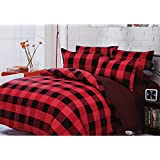 Home Basics Colours Checkered Queen Sized Double Bedsheet (1 Bedsheet, 2 Pillow Covers, Vibrant Red And Bold Black)