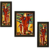 3 PIECE SET OF FRAMED WALL HANGING ART - MEDIUM SIZE - B018ZE42VA