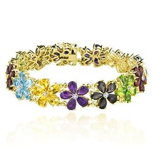 Yellow Gold Plated Sterling Silver Multi-Gemstone Flower Bracelet, 7.25