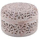Freshings Gaurara Carved Round Shape Box (Multi-Coloured, 11.4 Cm X 11.4 Cm X 7.6 Cm)