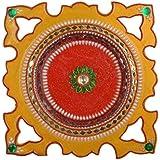 Maheshvari Wooden Rangoli (26 Cm X 26 Cm X 2 Cm, Yellow)