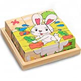 Mutong Toys 9-Piece Six Pattern Toy Brick Childhood Cognitive Wooden Jigsaw Puzzle Farm Animals