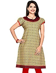 ALC Creations Cream Red Cotton Mid-Long, Casual, Formal, Printed Women's Kurti
