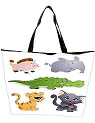 Snoogg Cute Animals Vectors Waterproof Bag Made Of High Strength Nylon