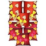 Heart Felt Patch Cushion Covers Combo Rust & Maroon 40 X 40 Cms(10 Pcs Set)